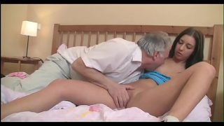 Old Step Dad gives sloppy blowjob to daughter