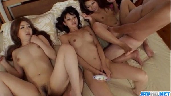 asian amateur Akubi feels amazing with so many girls around her